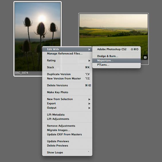 Maperture, kontextové menu