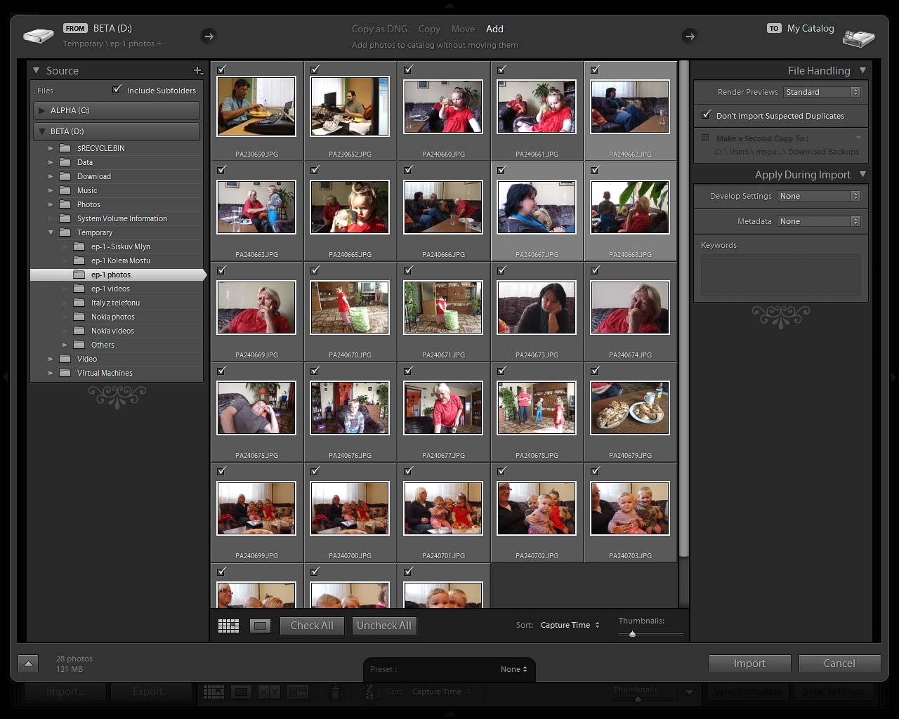 Import fotografií do Adobe Photoshop Lightroom 3