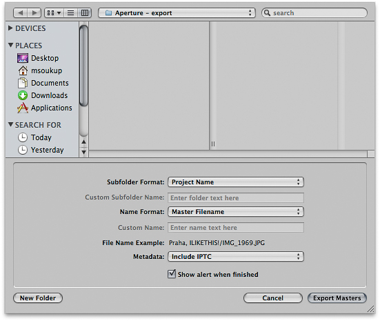 Dialog pro export souborů