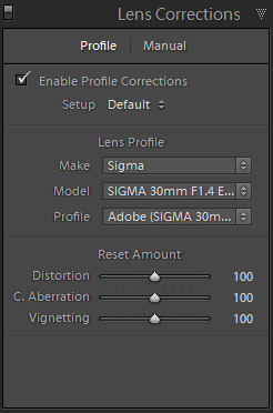 Lens Corrections / Profile